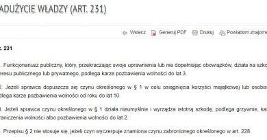 Nadużycie władzy - art. 231