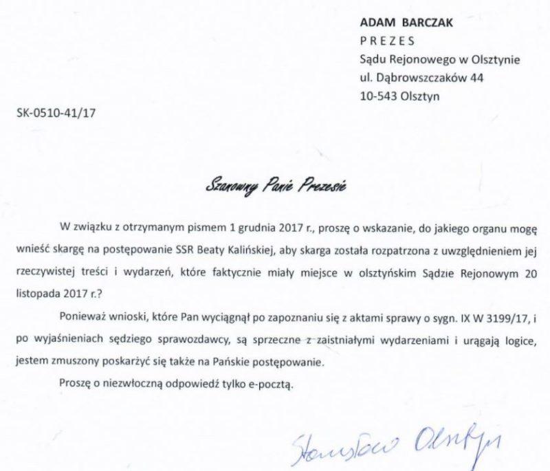 Pismo Ku Prawdzie z 3 grudnia 2017 r. do Adama Barczaka