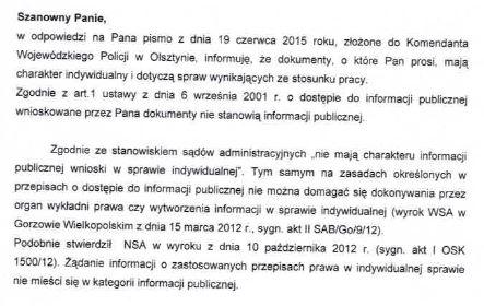 Odpowiedź KWP w Olsztynie na pismo z dn. 19 czerwca