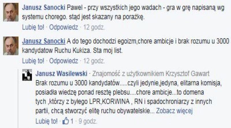 Janusz Sanocki obraża 3000 woJOWników