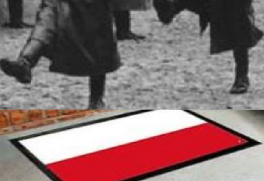 Polska flaga pod niemieckimi butami