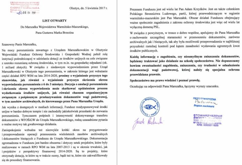 List otwarty do Marszałka