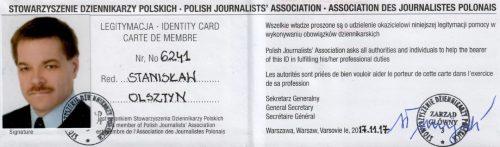 Legitymacja prasowa Stanisława Olsztyna