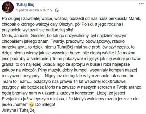 Tuhaj Bej - Zmarł Marek Łupkowski